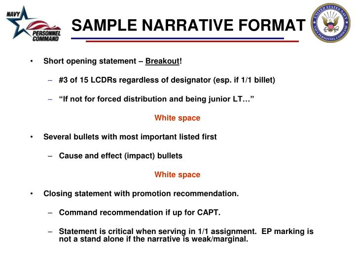 SAMPLE NARRATIVE FORMAT
