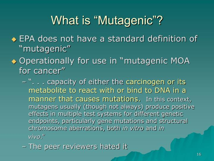 "What is ""Mutagenic""?"