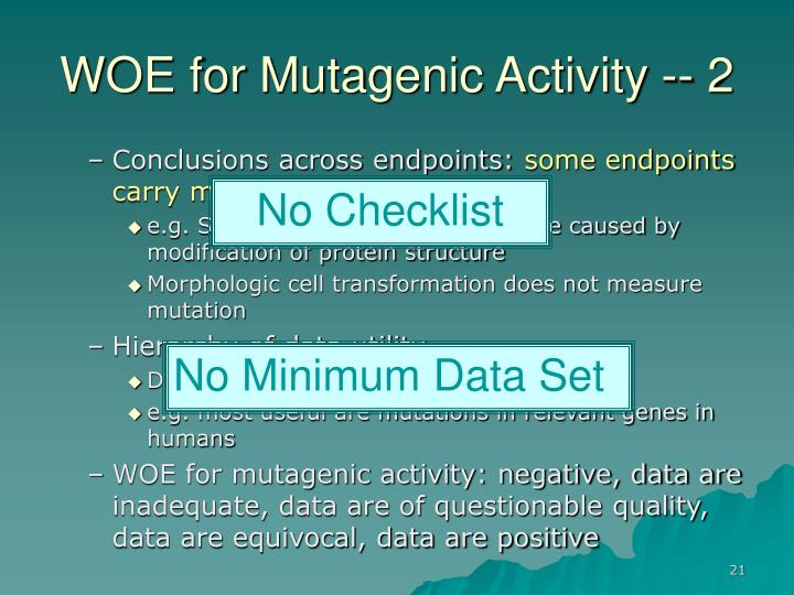 WOE for Mutagenic Activity -- 2