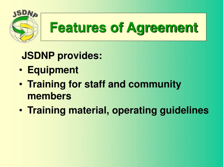 Features of Agreement