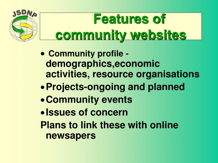 Features of community websites