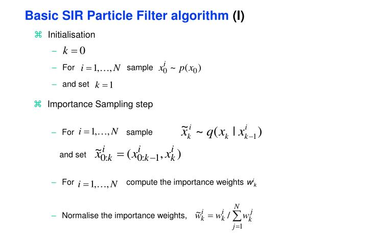 Basic SIR Particle Filter algorithm
