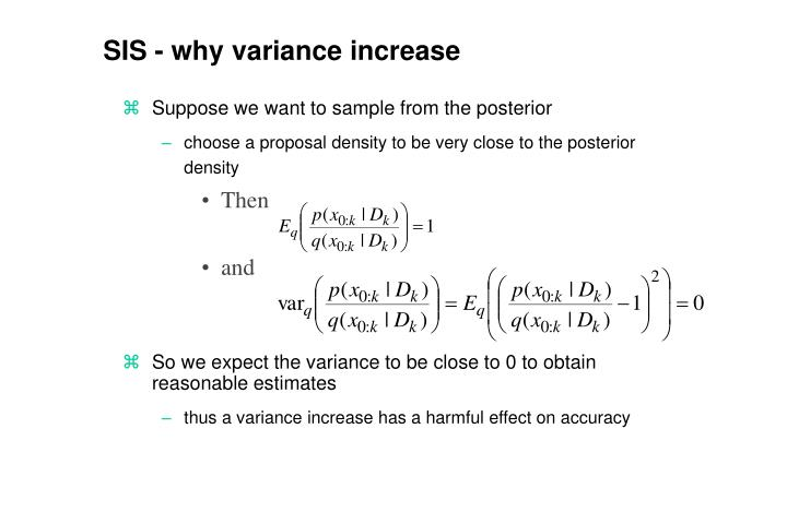 SIS - why variance increase