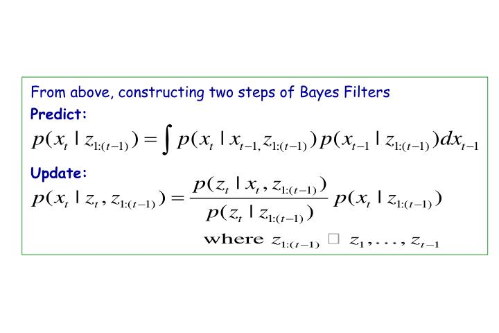 From above, constructing two steps of Bayes Filters