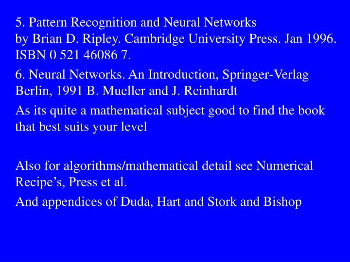 5. Pattern Recognition and Neural Networks