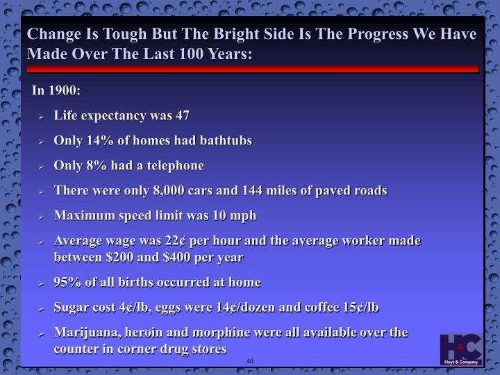 Change Is Tough But The Bright Side Is The Progress We Have Made Over The Last 100 Years: