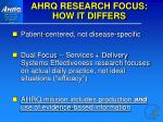 ahrq research focus how it differs