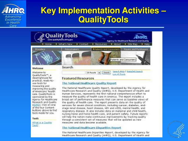 Key Implementation Activities – QualityTools