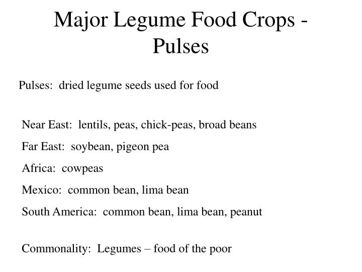Major Legume Food Crops - Pulses
