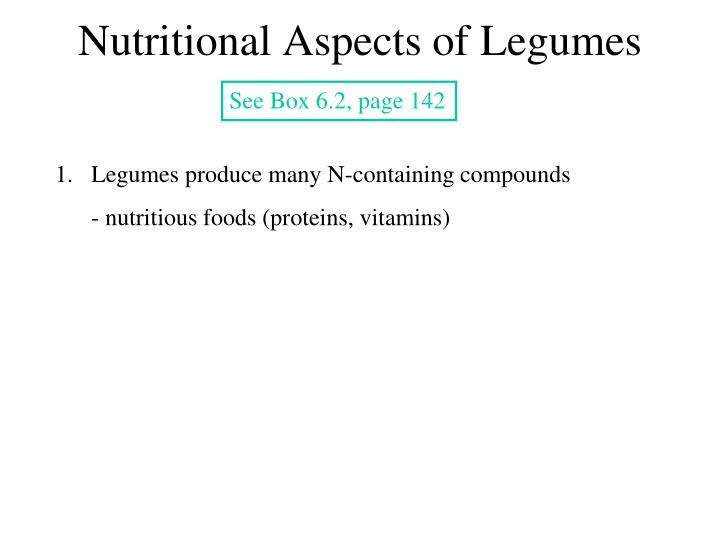 Nutritional Aspects of Legumes