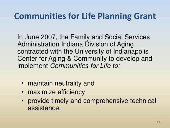 Communities for Life Planning Grant