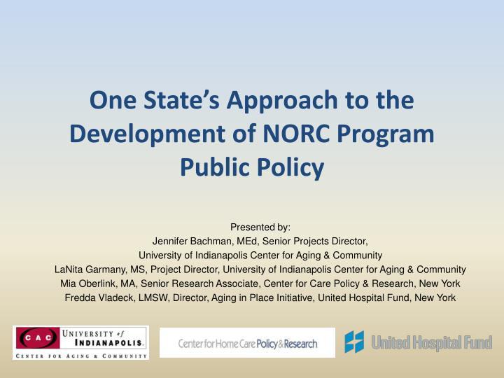 One State's Approach to the Development of NORC Program Public Policy