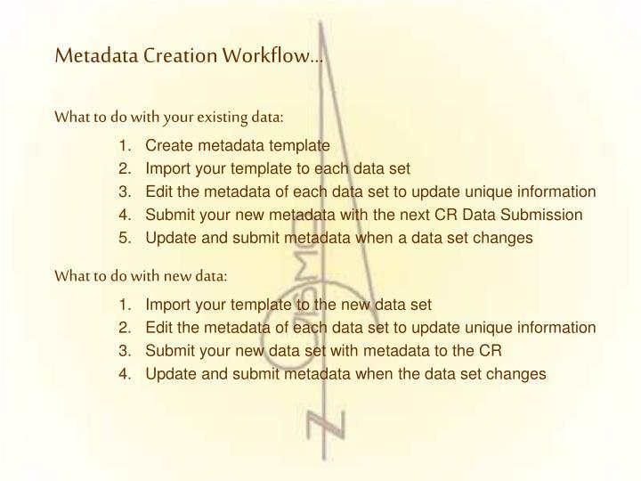 Metadata Creation Workflow…