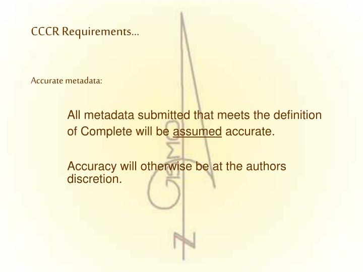 CCCR Requirements…