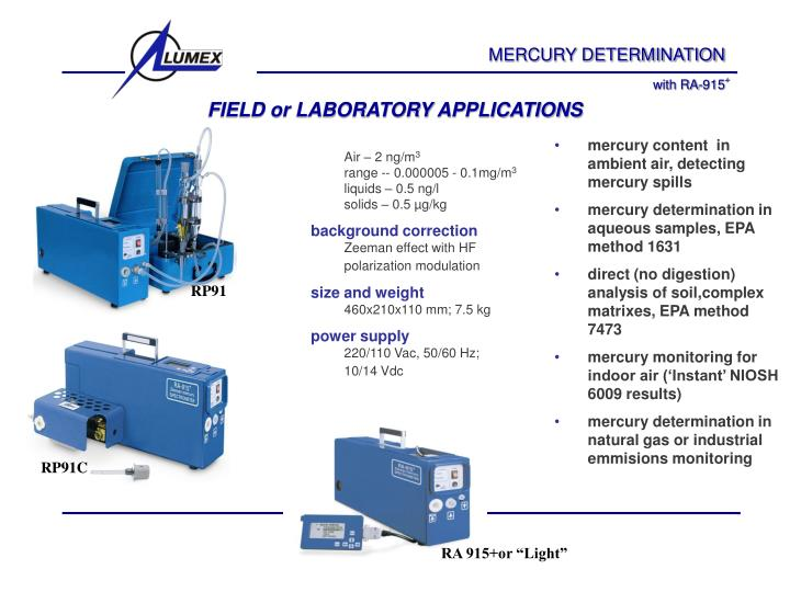 Field or laboratory applications