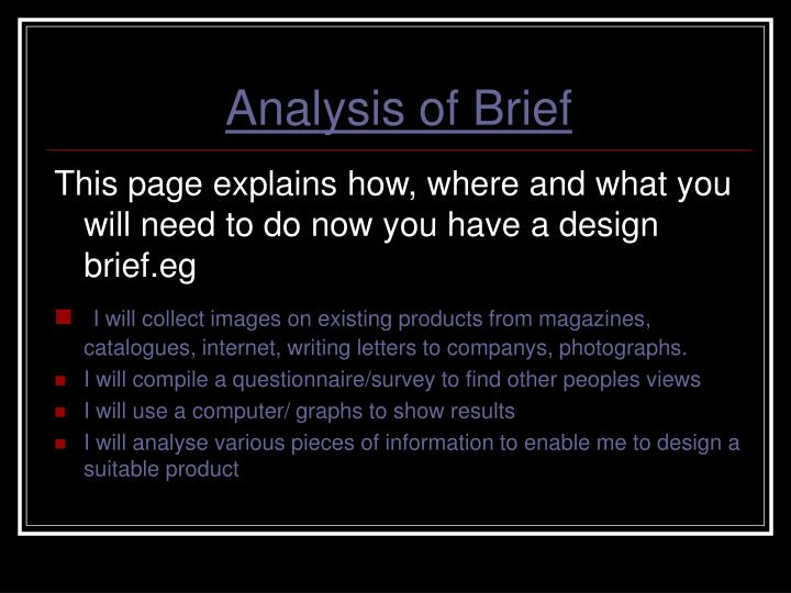 Analysis of Brief