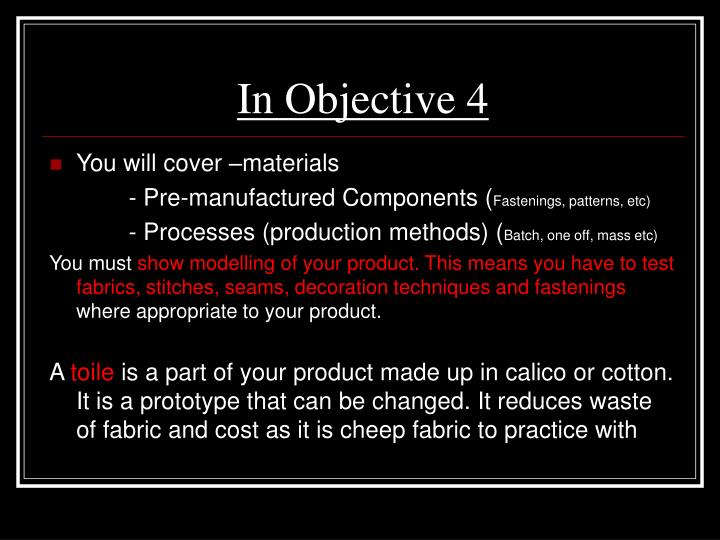 In Objective 4