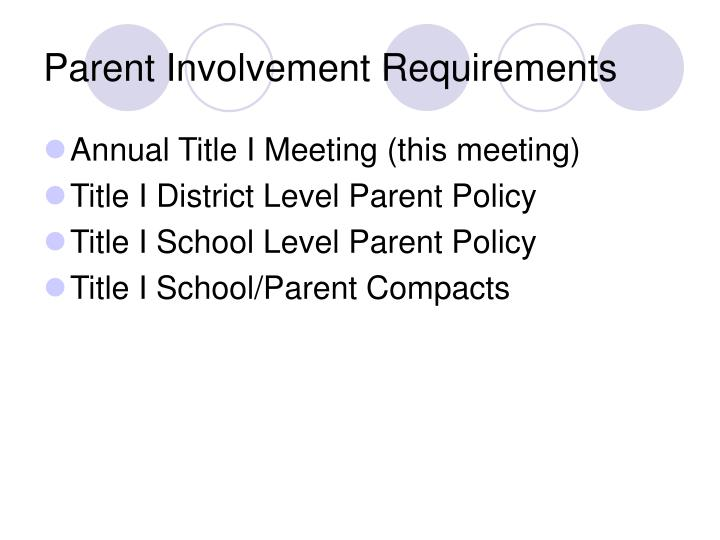 Parent Involvement Requirements