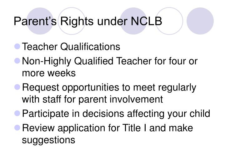 Parent's Rights under NCLB