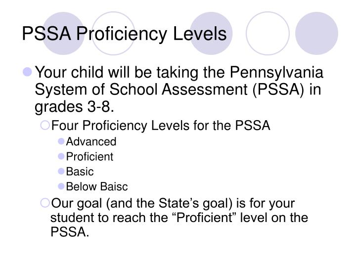PSSA Proficiency Levels