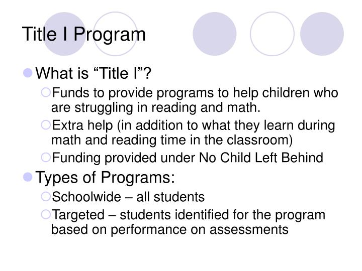 Title I Program