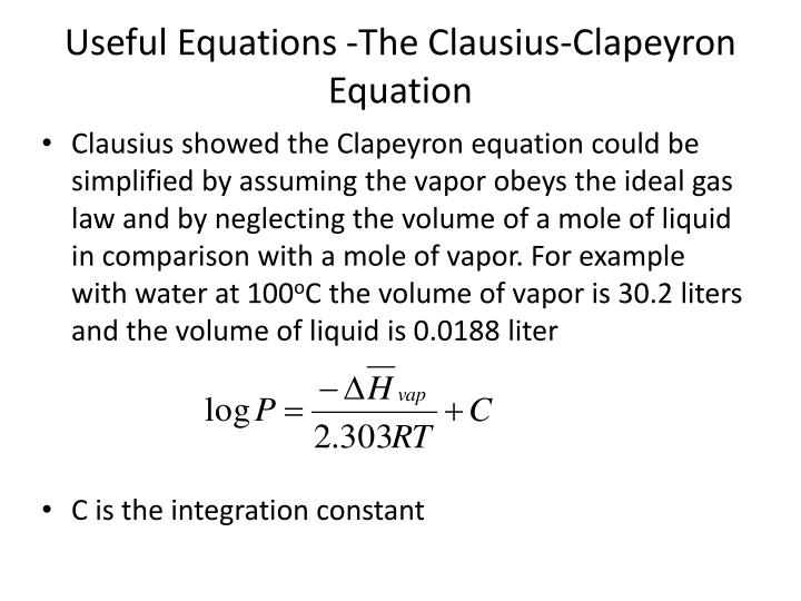 Useful Equations -The Clausius-Clapeyron Equation