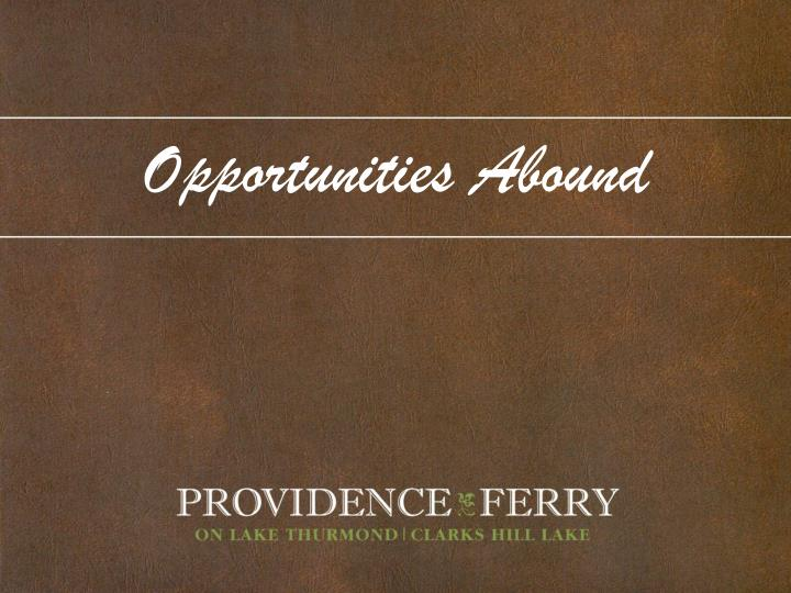 Opportunities Abound