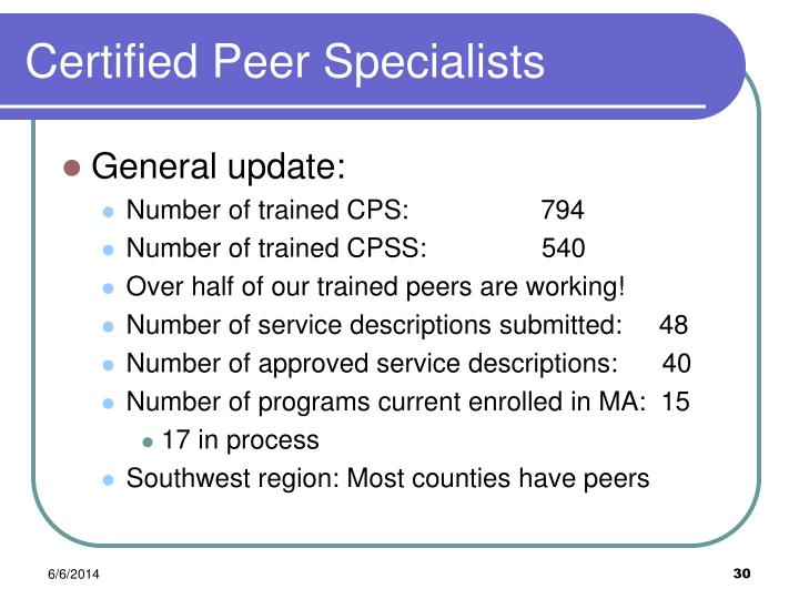 Certified Peer Specialists