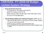 omhsas fy 2008 09 budget unified system strategy1