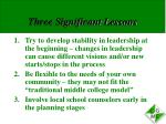 three significant lessons