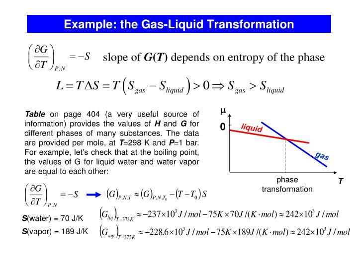 Example: the Gas-Liquid Transformation