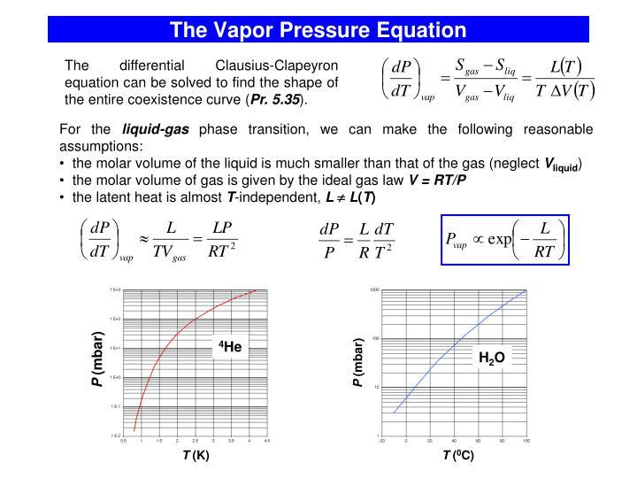 The Vapor Pressure Equation