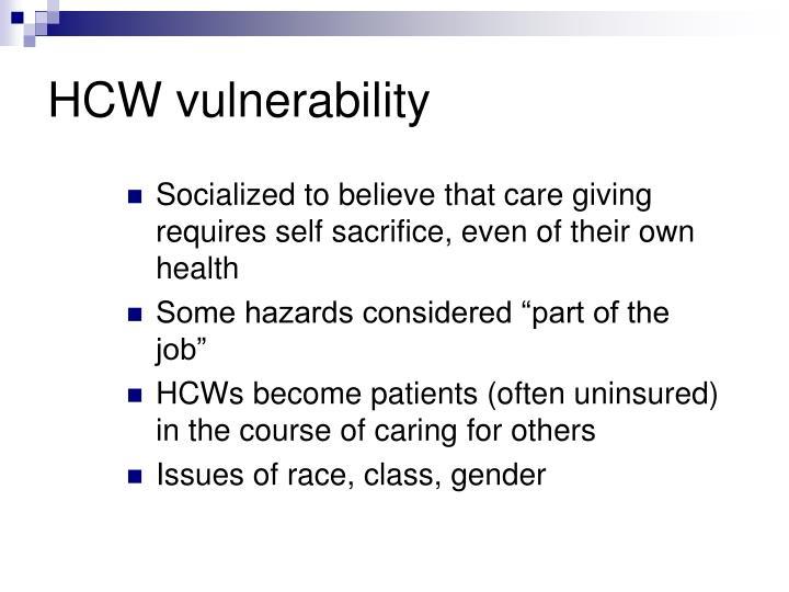 HCW vulnerability