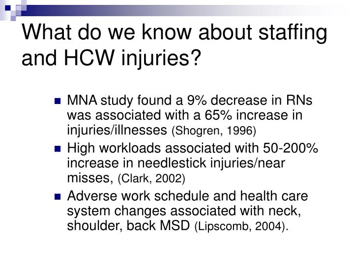 What do we know about staffing and HCW injuries?