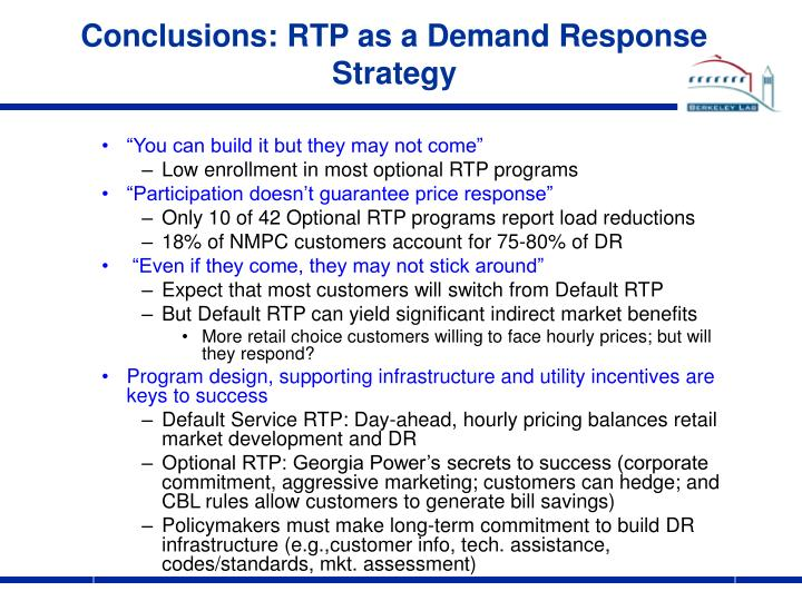 Conclusions: RTP as a Demand Response Strategy