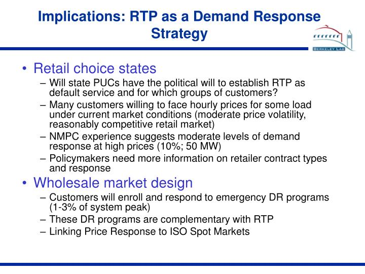 Implications: RTP as a Demand Response Strategy