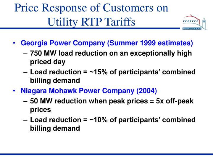 Price Response of Customers on Utility RTP Tariffs