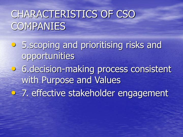 CHARACTERISTICS OF CSO COMPANIES