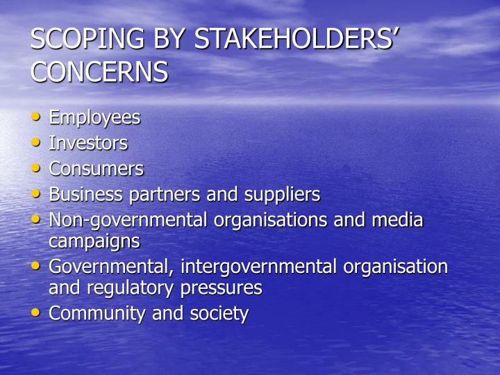 SCOPING BY STAKEHOLDERS' CONCERNS
