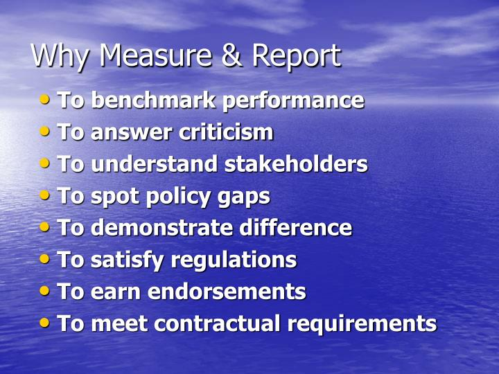 Why Measure & Report