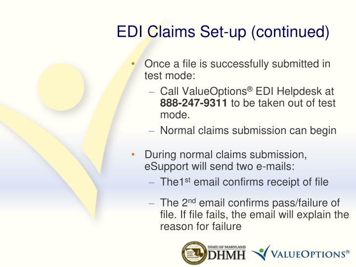 EDI Claims Set-up (continued)