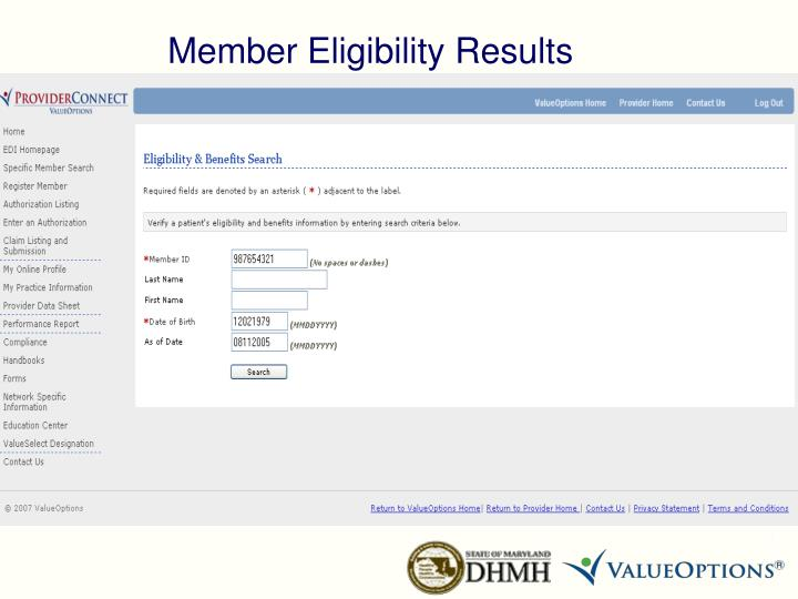 Member Eligibility Results