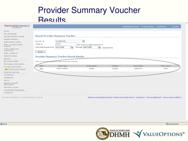Provider Summary Voucher Results
