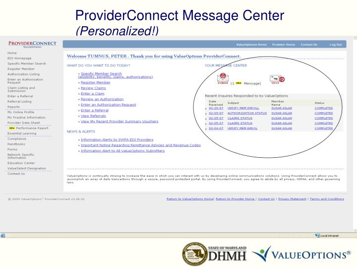ProviderConnect Message Center