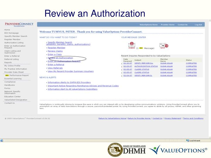 Review an Authorization