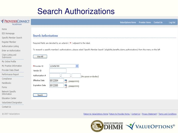Search Authorizations