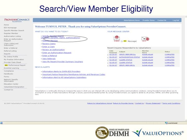 Search/View Member Eligibility
