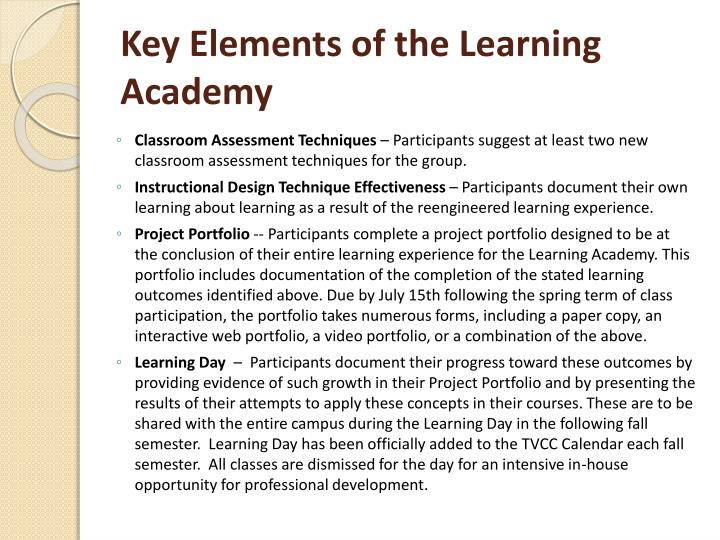 Key Elements of the Learning Academy