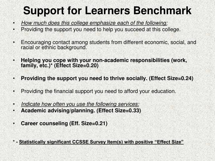 Support for Learners Benchmark
