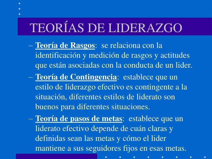 TEORÍAS DE LIDERAZGO